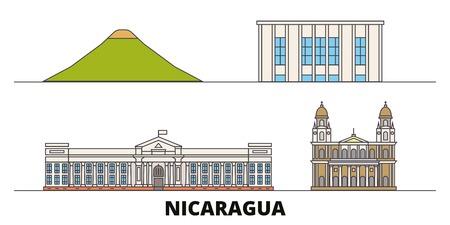 Nicaragua, Managua flat landmarks vector illustration. Nicaragua, Managua line city with famous travel sights, design skyline. Illustration