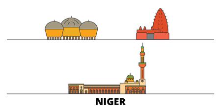 Niger flat landmarks vector illustration. Niger line city with famous travel sights, design skyline.