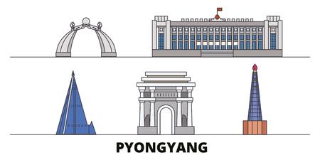 North Korea, Pyongyang flat landmarks vector illustration. North Korea, Pyongyang line city with famous travel sights, design skyline.