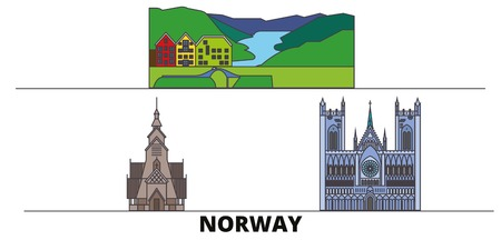 Norway flat travel skyline set. Norway black city vector panorama, illustration, travel sights, landmarks, streets. Illustration