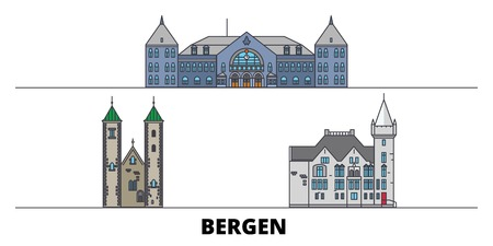 Norway, Bergen flat travel skyline set. Norway, Bergen black city vector panorama, illustration, travel sights, landmarks, streets.
