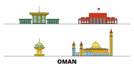 Oman, Muscat flat landmarks vector illustration. Oman, Muscat line city with famous travel sights, design skyline.