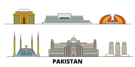 Pakistan, Islamabad flat travel skyline set. Pakistan, Islamabad black city vector panorama, illustration, travel sights, landmarks, streets.