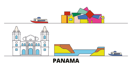 Panama flat landmarks vector illustration. Panama line city with famous travel sights, design skyline.