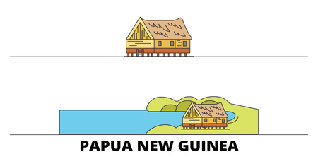 Papua New Guinea flat travel skyline set. Papua New Guinea black city vector panorama, illustration, travel sights, landmarks, streets. Stock Vector - 120711452