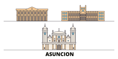 Paraguay, Asuncion flat landmarks vector illustration. Paraguay, Asuncion line city with famous travel sights, design skyline.  イラスト・ベクター素材