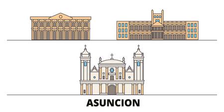 Paraguay, Asuncion flat landmarks vector illustration. Paraguay, Asuncion line city with famous travel sights, design skyline. Ilustrace