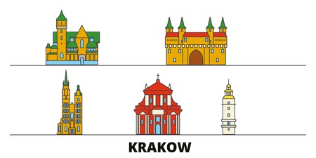 Poland, Krakow flat landmarks vector illustration. Poland, Krakow line city with famous travel sights, design skyline.