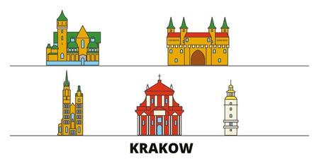 Polska, Kraków płaskie zabytki ilustracji wektorowych. Polska, Kraków linia miasto ze słynnymi zabytkami podróży, panoramę projektowania.