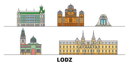 Poland, Lodz flat travel skyline set. Poland, Lodz black city vector panorama, illustration, travel sights, landmarks, streets.