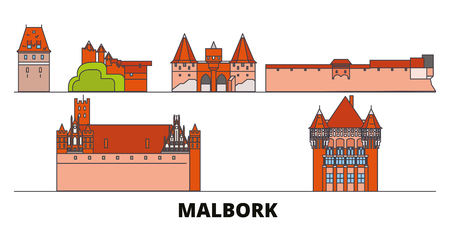 Poland, Malbork flat landmarks vector illustration. Poland, Malbork line city with famous travel sights, design skyline.
