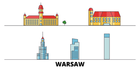 Poland, Warsaw City flat landmarks vector illustration. Poland, Warsaw City line city with famous travel sights, design skyline.