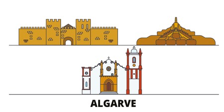 Portugal, Algarve flat landmarks vector illustration. Portugal, Algarve line city with famous travel sights, design skyline.
