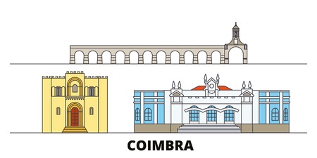 Portugal, Coimbra flat landmarks vector illustration. Portugal, Coimbra line city with famous travel sights, design skyline.