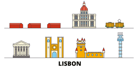 Portugal, Lisbon flat landmarks vector illustration. Portugal, Lisbon line city with famous travel sights, design skyline. Çizim