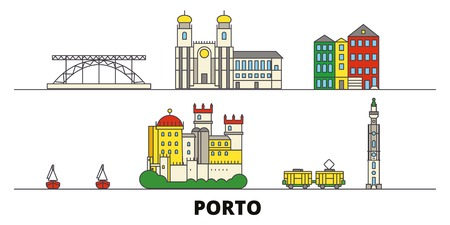 Portugal, Porto flat landmarks vector illustration. Portugal, Porto line city with famous travel sights, design skyline.