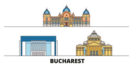 Romania, Bucharest flat landmarks vector illustration. Romania, Bucharest line city with famous travel sights, design skyline. Stock Illustratie
