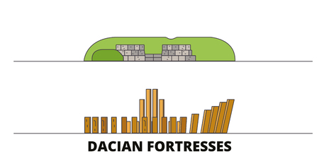 Romania, Dacian Fortresses, Orastie Mountains flat landmarks vector illustration. Romania, Dacian Fortresses, Orastie Mountains line city with famous travel sights, design skyline.