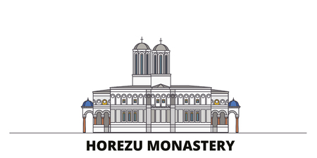 Romania, Horezu Monastery flat landmarks vector illustration. Romania, Horezu Monastery line city with famous travel sights, design skyline.