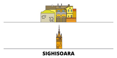 Romania, Sighisoara flat landmarks vector illustration. Romania, Sighisoara line city with famous travel sights, design skyline. Banque d'images - 120888910
