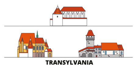 Romania, Transylvania flat landmarks vector illustration. Romania, Transylvania line city with famous travel sights, design skyline.