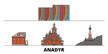 Russia, Anadyr flat landmarks vector illustration. Russia, Anadyr line city with famous travel sights, design skyline.