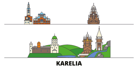 Russia, Karelia flat landmarks vector illustration. Russia, Karelia line city with famous travel sights, design skyline.