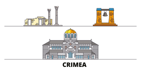 Russia, Crimea, Chersonesus flat landmarks vector illustration. Russia, Crimea, Chersonesus line city with famous travel sights, design skyline.