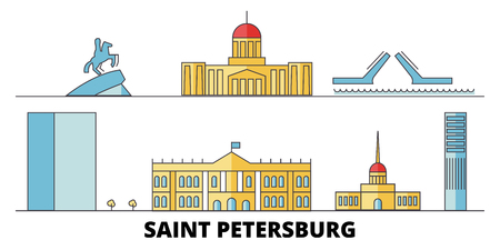 Russia, Saint Petersburg City flat landmarks vector illustration. Russia, Saint Petersburg City line city with famous travel sights, design skyline. Illustration