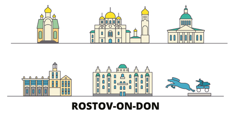Russia, Rostov On Don flat landmarks vector illustration. Russia, Rostov On Don line city with famous travel sights, design skyline. Çizim