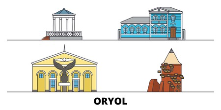 Russia, Oryol flat landmarks vector illustration. Russia, Oryol line city with famous travel sights, design skyline.