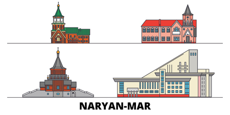 Russia, Naryan Mar  flat landmarks vector illustration. Russia, Naryan Mar  line city with famous travel sights, design skyline.