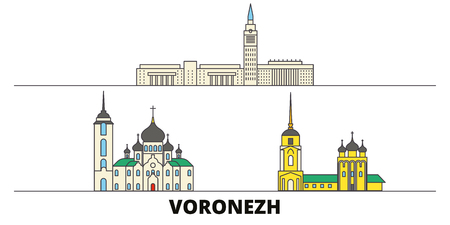 Russia, Voronezh flat landmarks vector illustration. Russia, Voronezh line city with famous travel sights, design skyline.  イラスト・ベクター素材