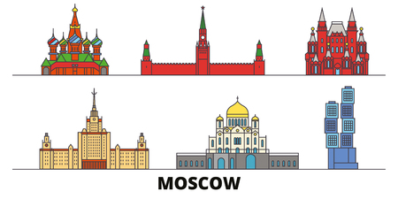 Russia, Moscow flat landmarks vector illustration. Russia, Moscow line city with famous travel sights, design skyline.