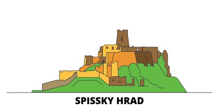 Slovakia, Spissky Hrad flat landmarks vector illustration. Slovakia, Spissky Hrad line city with famous travel sights, design skyline.