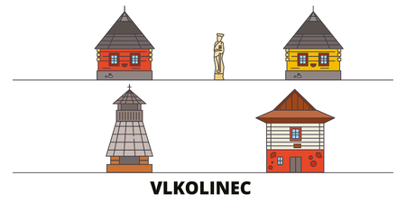 Slovakia, Vlkolinec flat landmarks vector illustration. Slovakia, Vlkolinec line city with famous travel sights, design, skyline. Ilustração