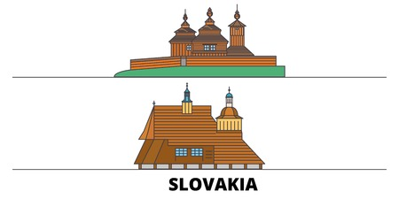 Slovakia, Wooden Churches In The Carpathian Mountain Area flat landmarks vector illustration. Slovakia, Wooden Churches In The Carpathian Mountain Area line city with famous travel sights, design skyline. Ilustração