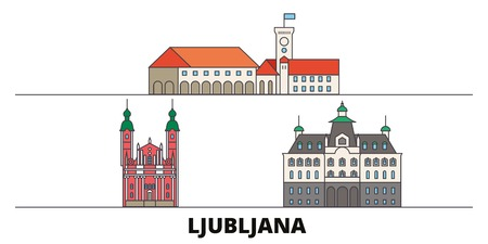 Slovenia, Ljubljana flat landmarks vector illustration. Slovenia, Ljubljana line city with famous travel sights, design skyline. Illustration