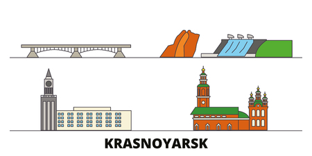 Russia, Krasnoyarsk flat landmarks vector illustration. Russia, Krasnoyarsk line city with famous travel sights, design skyline.