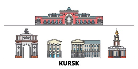 Russia, Kursk flat landmarks vector illustration. Russia, Kursk line city with famous travel sights, design skyline.