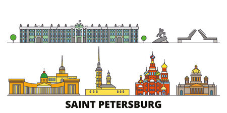 Russia, Saint Petersburg flat landmarks vector illustration. Russia, Saint Petersburg line city with famous travel sights, design skyline. Çizim