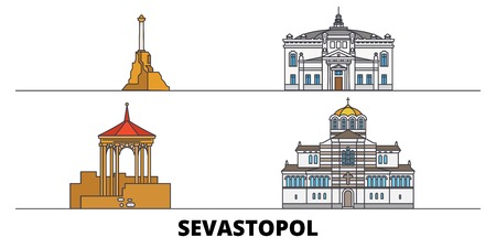 Russia, Sevastopol flat landmarks vector illustration. Russia, Sevastopol line city with famous travel sights, design skyline. Ilustrace
