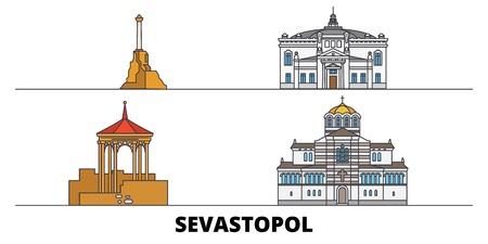 Russia, Sevastopol flat landmarks vector illustration. Russia, Sevastopol line city with famous travel sights, design skyline. Illustration