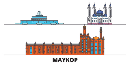 Russia, Maykop flat landmarks vector illustration. Russia, Maykop line city with famous travel sights, design skyline. Ilustrace