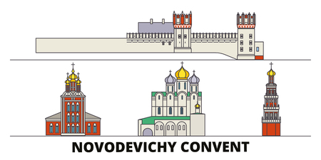 Russia, Moscow, Novodevichy Convent flat landmarks vector illustration. Russia, Moscow, Novodevichy Convent line city with famous travel sights, design skyline.