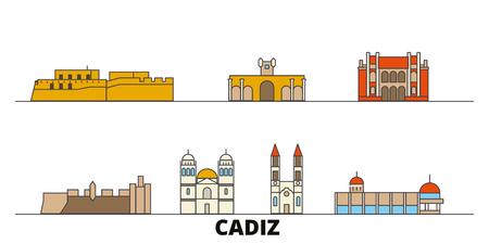 Spain, Cadiz flat landmarks vector illustration. Spain, Cadiz line city with famous travel sights, design skyline.