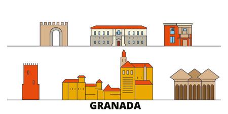 Spain, Granada flat landmarks vector illustration. Spain, Granada line city with famous travel sights, design skyline.