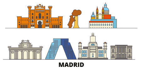 Spain, Madrid flat landmarks vector illustration. Spain, Madrid line city with famous travel sights, design skyline.