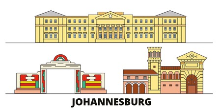 South Africa, Johannesburg flat landmarks vector illustration. South Africa, Johannesburg line city with famous travel sights, design skyline.