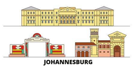 South Africa, Johannesburg flat landmarks vector illustration. South Africa, Johannesburg line city with famous travel sights, design skyline.